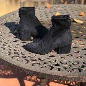 faux suede sock booties